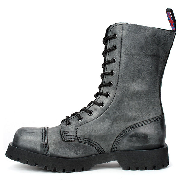 10-eye Gray Leather Steel Toe Boots by Nevermind