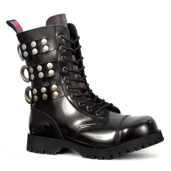 10-Eye Black Leather Rivet Strap Boots by Nevermind