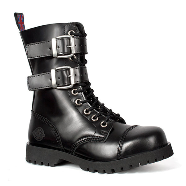 NEVERMIND Black Leather 2-Strap Combat Boots