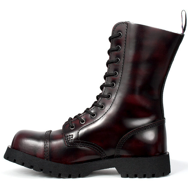 86229a7dcffa10 Burgundy Leather 10-eye Steel Toe Boots by Nevermind – Nevermind Shoes
