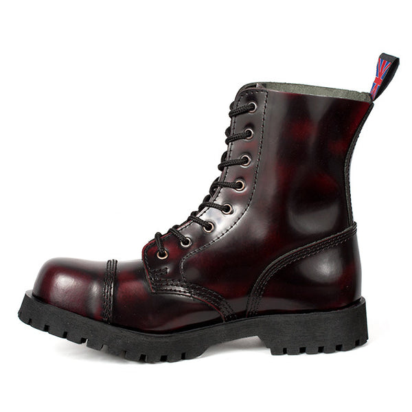 8-Eye Burgundy Leather Steel Toe Boots by Nevermind