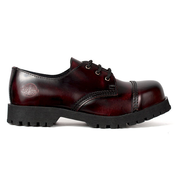 NEVERMIND 3-Eye Burgudy Leather Oxford Shoes