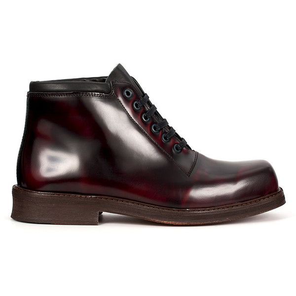 Burgundy Leather Lace-up Boots by Nevermind