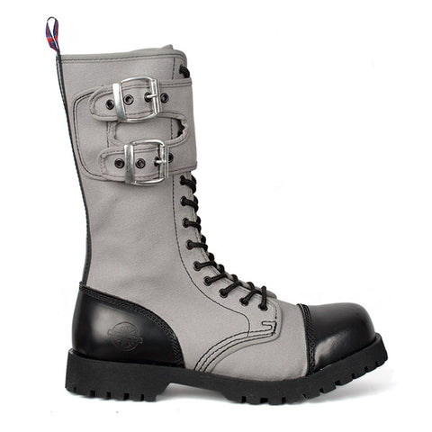 NEVERMIND Gray Canvas 14-eye Combat Boots