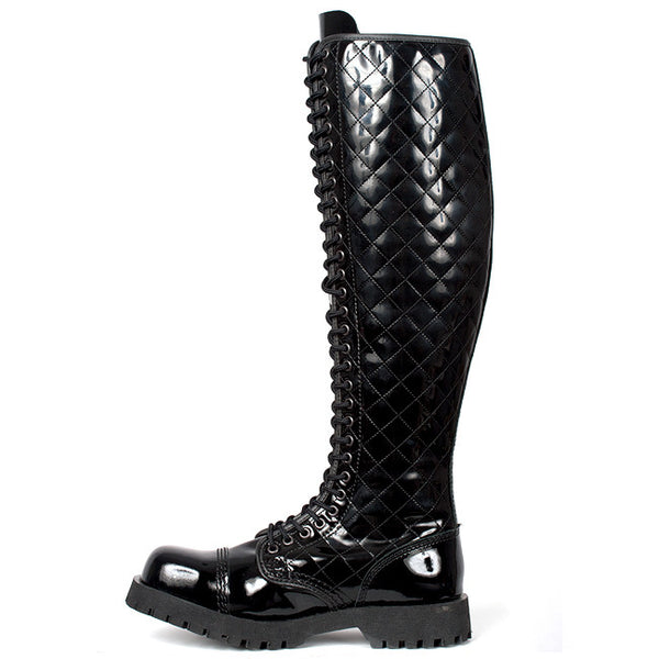 NEVERMIND Black Patent 30-Eye Boots