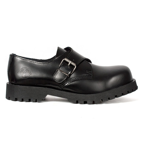 NEVERMIND Black Leather Monk Strap Shoes