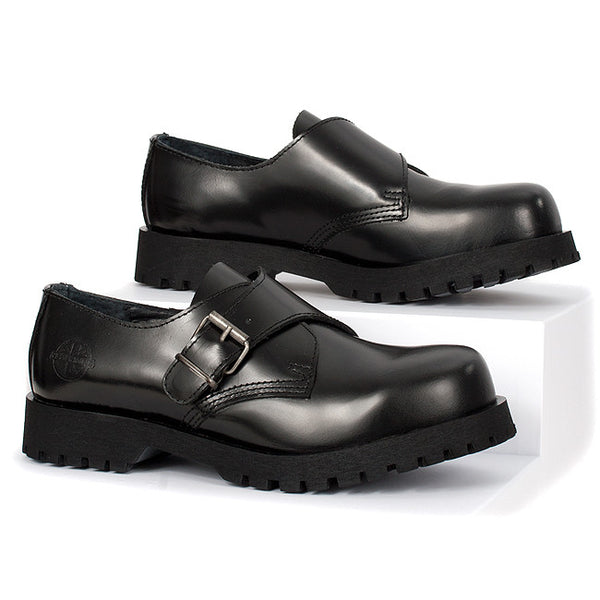 Black Leather Monk Strap Shoes by Nevermind