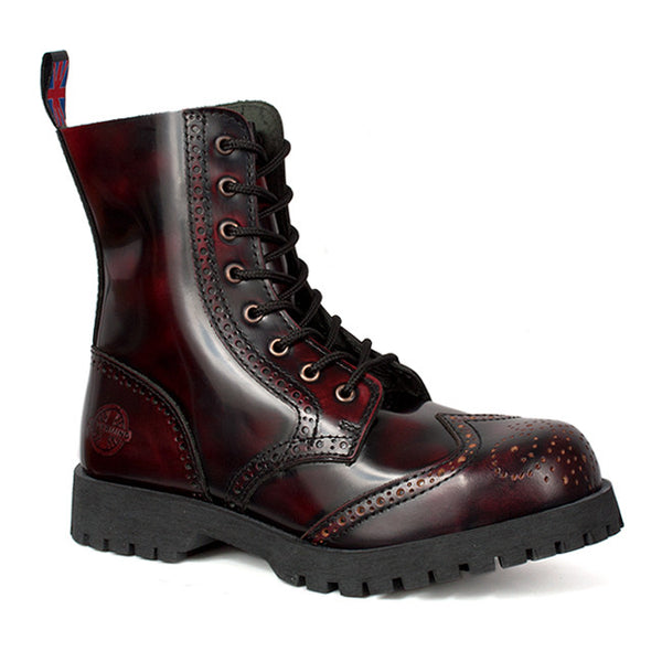 NEVERMIND Burgundy 8-Eye Wingtip Boots