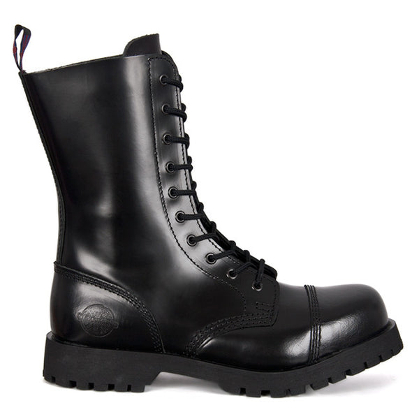 NEVERMIND Black Leather 10-Eye Boots