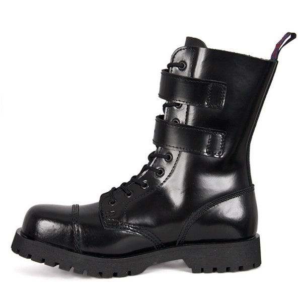 NEVERMIND 2-Strap 10-Eye Combat Boots
