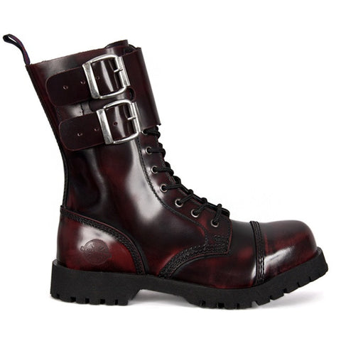 NEVERMIND Burgundy Leather 10-Eye Combat Boots