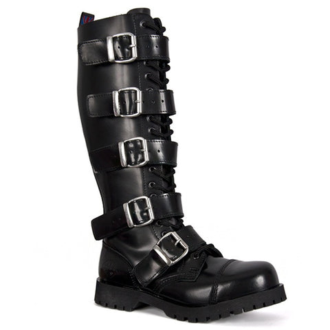 NEVERMIND Knee High 5-Buckle Combat Boots