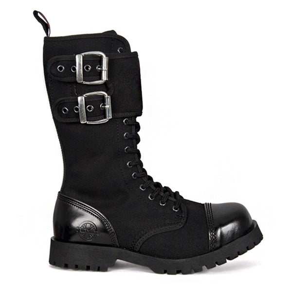 NEVERMIND Black Canvas 14-eye Combat Boots