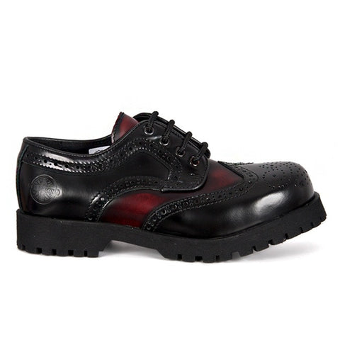 NEVERMIND Black and Burgundy Wingtip Shoes