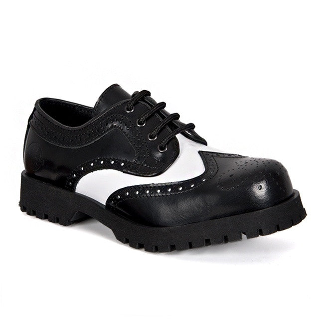 Black \u0026 White Leather Wingtip Shoes by