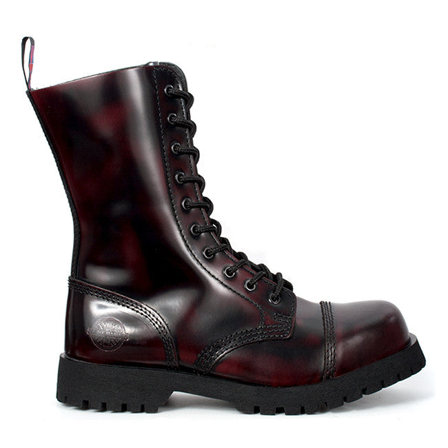Burgundy Leather 10-eye Steel Toe Boots by Nevermind