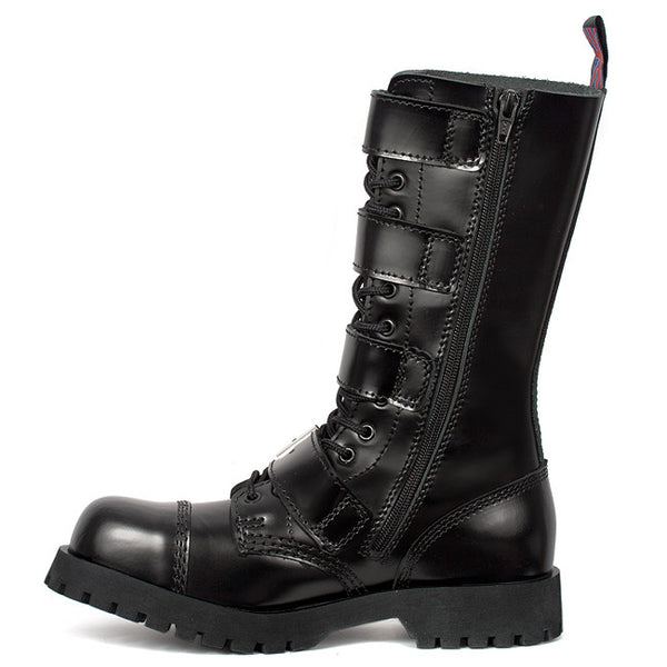 Steel Toe 4-Buckle Leather Boots by Nevermind