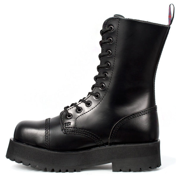Black Leather Double Sole 10-eye Boots