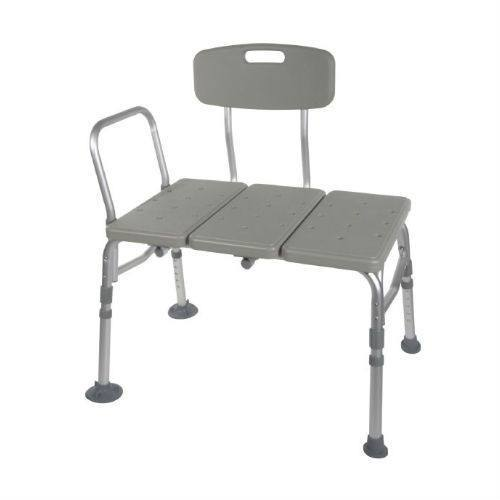 Plastic Transfer Bench with 3 Position Backrest, Gray (12011KD-1) - EZMEDx Medical Supply