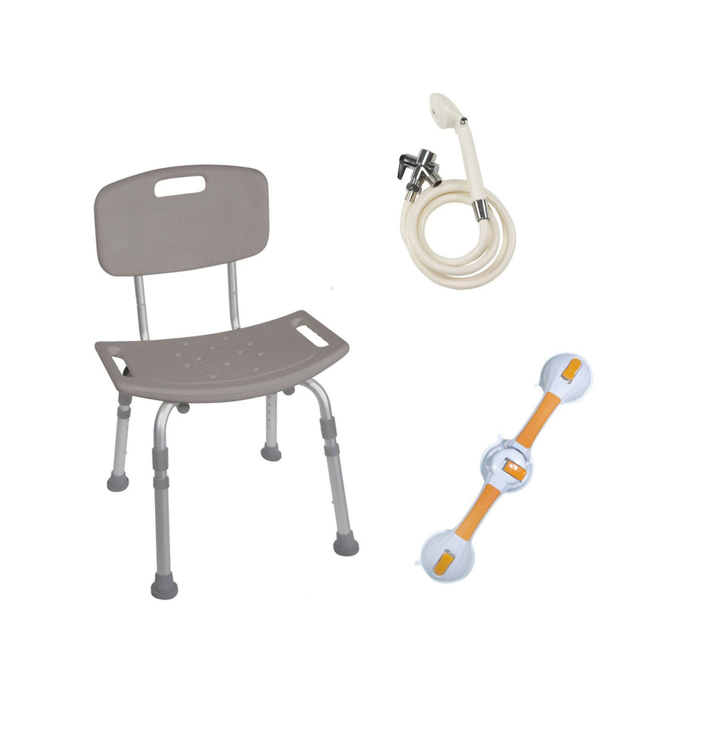 Shower Tub Chair Grab Bar Safety Bundle - EZMEDx Medical Supply