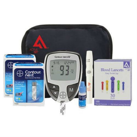 Bayer Diabetes Testing Kit (Contour NEXT EZ Meter, 100 Test Strips, 100 Lancets, Lancing Device, Control Solution) - EZMEDx Medical Supply  - 1