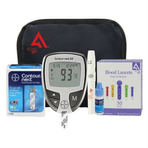 Bayer Diabetes Testing Kit (Contour NEXT EZ Meter, 50 Test Strips, 50 Lancets, Lancing Device, Control Solution) - EZMEDx Medical Supply  - 1