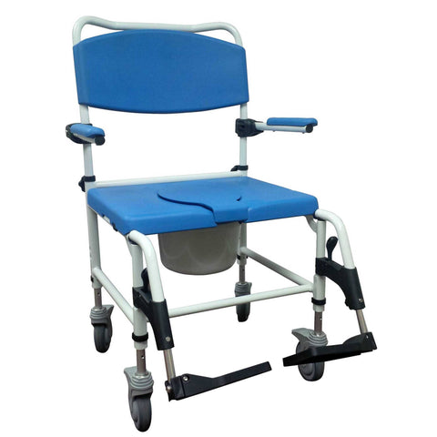 Aluminum Bariatric Rehab Shower Commode Chair with Two Rear-Locking Casters - EZMEDx Medical Supply