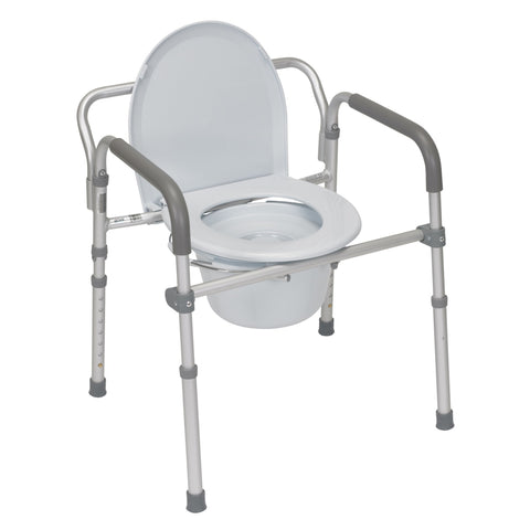 Aluminum Folding Commode with Padded Armrests - EZMEDx Medical Supply
