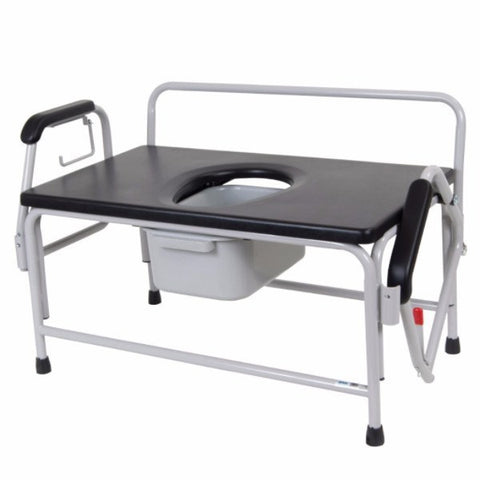 Bariatric Extra Wide Drop Arm Bedside Commode Seat - EZMEDx Medical Supply