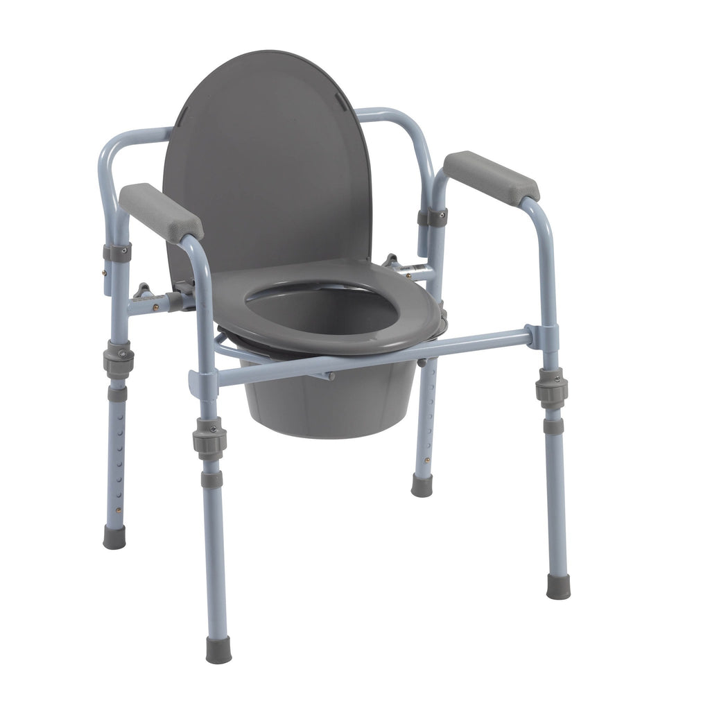 Folding Bedside Commode with Bucket and Splash Guard - EZMEDx Medical Supply