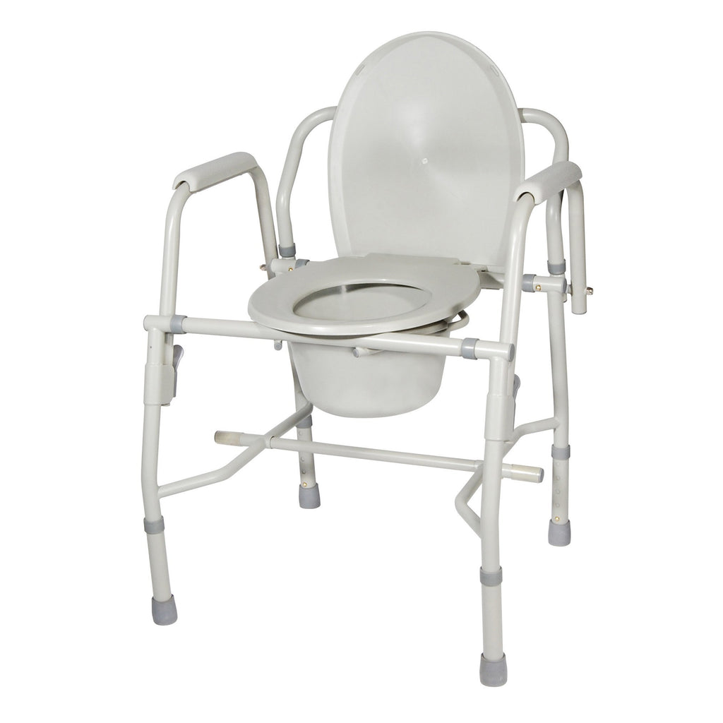 Steel Drop Arm Bedside Commode with Padded Arms - EZMEDx Medical Supply