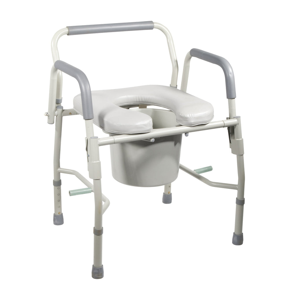 Steel Drop Arm Bedside Commode with Padded Seat and Arms - EZMEDx Medical Supply