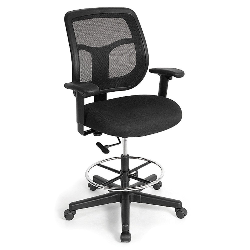 "Eurotech Apollo Mesh Back Drafting Stool - 26-1/2 -36-1/2"" Seat Height - Black - EZMEDx Medical Supply"