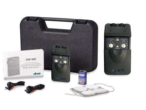 Portable Dual Channel TENS Unit with Timer and Electrodes - EZMEDx Medical Supply