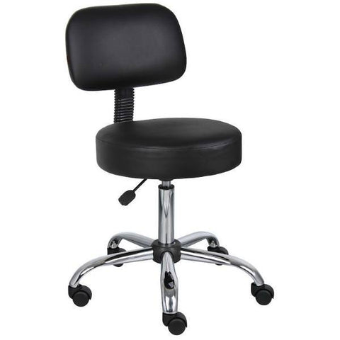 Boss Black Caressoft Medical Stool W/Back - EZMEDx Medical Supply  - 1