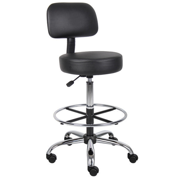 Boss Caressoft Medical/Drafting Stool with Back Cushion - EZMEDx Medical Supply  - 1