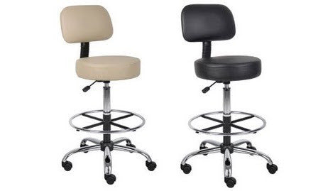 Fabulous Boss Caressoft Medical Drafting Stool With Back Cushion Dailytribune Chair Design For Home Dailytribuneorg