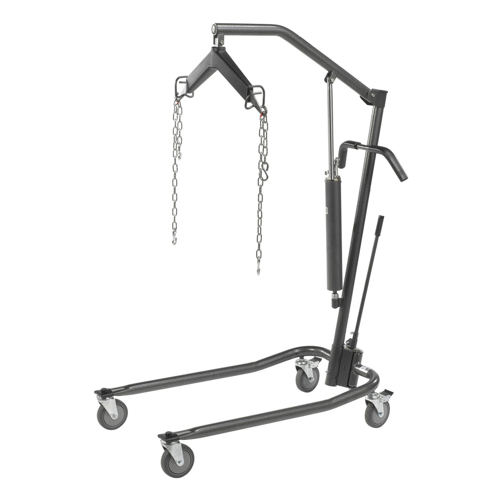 "Hydraulic Patient Lift with Six Point Cradle, Silver Vein with Additional Set of 3"" Casters - EZMEDx Medical Supply"