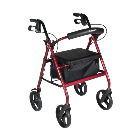 Aluminum Rollator with Removable Wheels, Red - EZMEDx Medical Supply