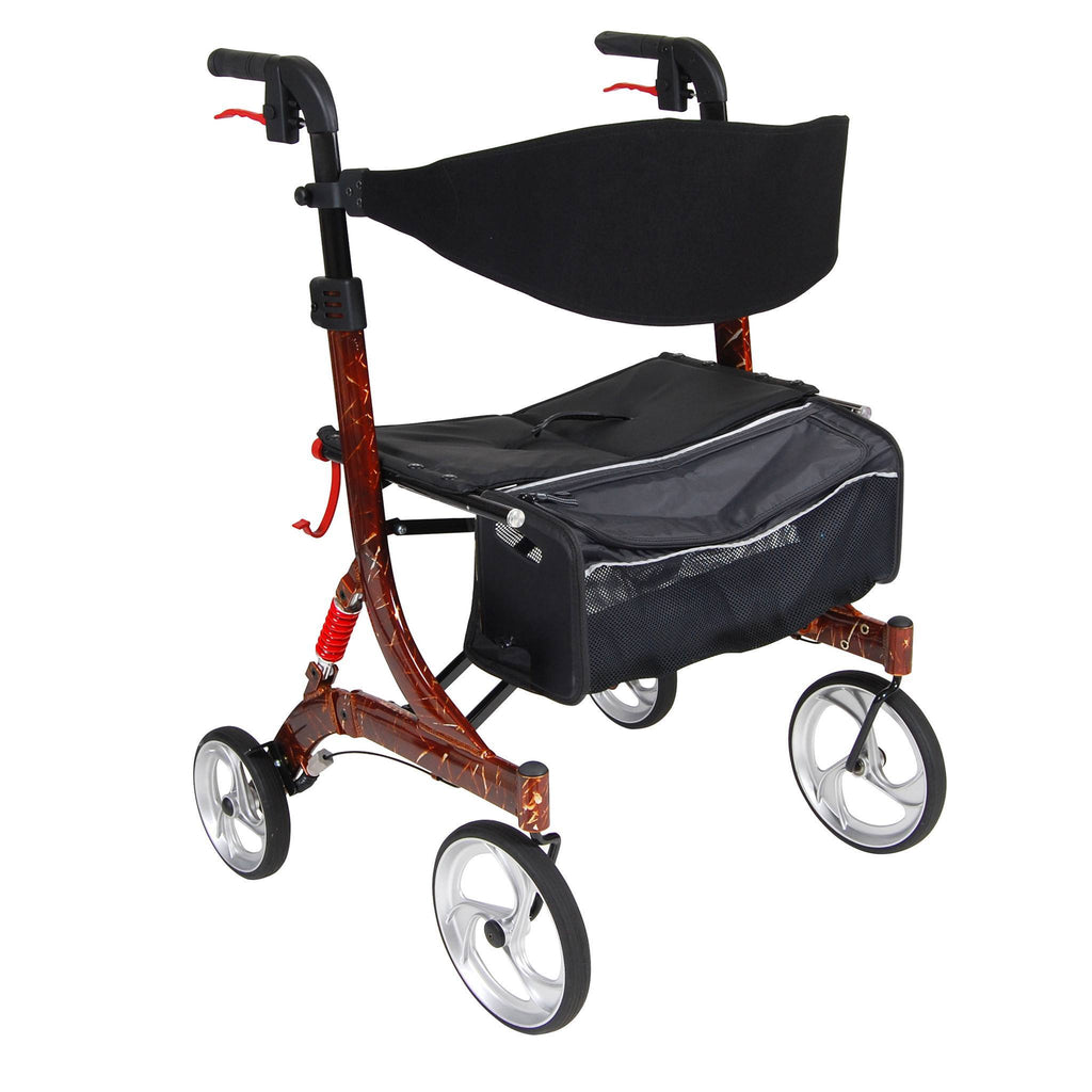 Nitro Euro Style Walker Rollator, Heavy Duty, Brown - EZMEDx Medical Supply