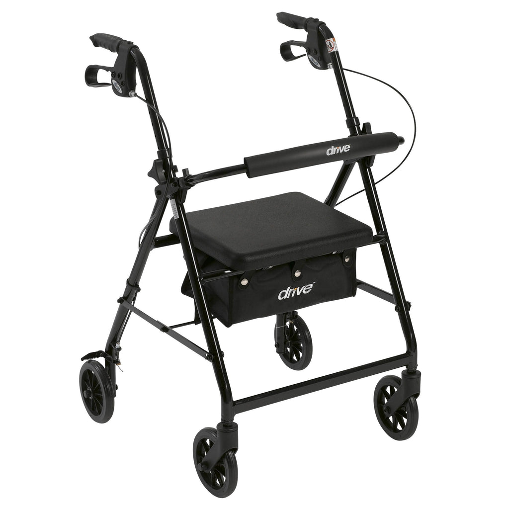 "Walker Rollator with 6"" Wheels, Fold Up Removable Back Support and Padded Seat - EZMEDx Medical Supply  - 5"