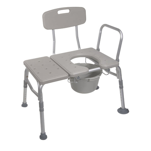 Combination Plastic Transfer Bench with Commode Opening - EZMEDx Medical Supply