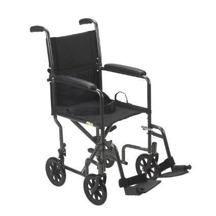 "Lightweight Steel Transport Wheelchair, Fixed Full Arms, 19"" Seat (TR39E-SV-1) - EZMEDx Medical Supply  - 1"