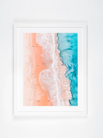 In Stock - SW1211 - City Beach - 100cm x 75cm / Fine Art Paper - Classic Frame / White / Landscape or Portrait