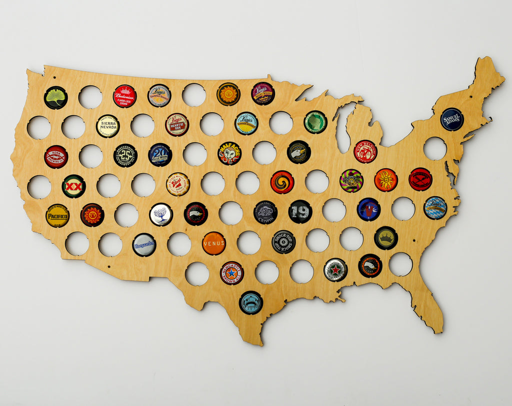 United States Of America Beer Cap Map Design By Skyline Workshop - Michigan bottle cap map
