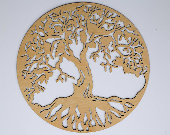 Circle Tree Of Life Wooden Wall Art Home Decor