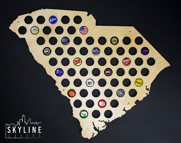 South Carolina State Beer Cap Map