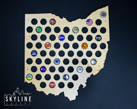 Michigan State Beer Cap Map Design By Skyline Workshop - Us beer cap map