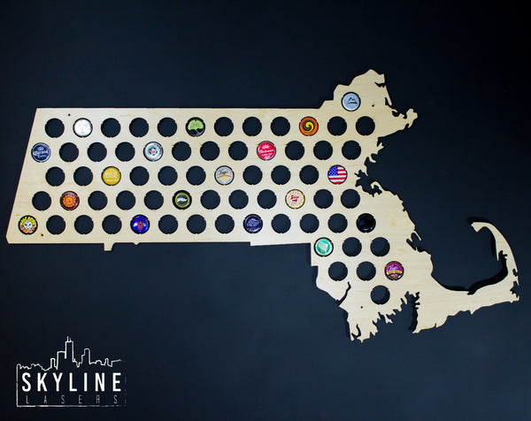 Massachusetts State Beer Cap Map