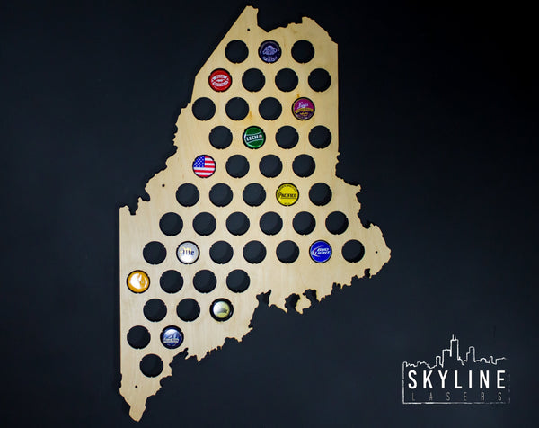 Maine State Beer Cap Map